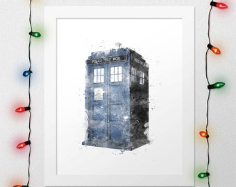 DR WHO TARDIS Print, Tardis, Tardis Poster, Tardis Watercolor, Doctor Who, Watercolor, Nursery Serie Poster, Wall Art, Digital Print