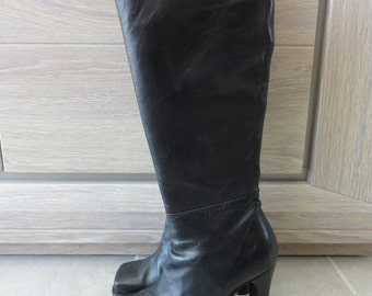 Vintage Italian Black Leather Knee High Boots