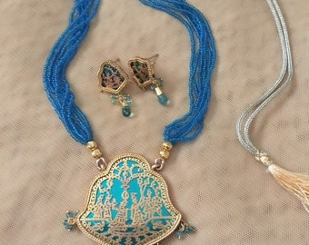 Blue thewa necklace/ Indian jewelry / ethnic jewelry/