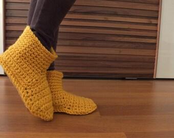 Mother Gift Women Crochet Slippers Wool Slippers Womens Slippers Adult Slippers Knitted Slippers Slipper Socks Knitted Socks Mustard Slipper