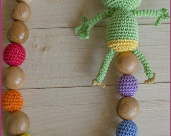 Rainbow Nursing Necklace with frog