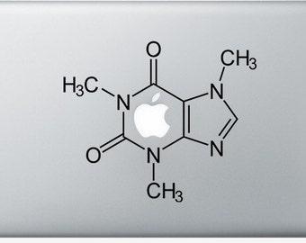 Caffeine Molecule Decal, Molecule Sticker, Laptop Sticker, Chemical Molecule Decal, vinyl Laptop Decal, MacBook Decal, holiday iPhone decal