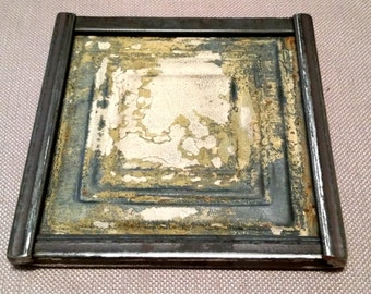 Wall art-wall sculpture-antique tin ceiling tile-vintage salvage-shabby chic