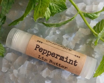 PEPPERMINT LIP BUTTER, peppermint lip balm, mint lip butter, 15oz