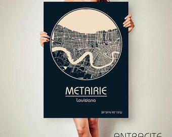 METAIRIE Louisiana CANVAS Map Metairie Louisiana Poster City Map Metairie Louisiana Art Print Metairie Louisiana poster Metairie Louisiana