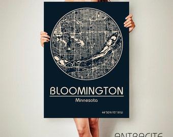 BLOOMINGTON Minnesota CANVAS Map Bloomington Minnesota Poster City Map Bloomington Minnesota Art Print Bloomington Minnesota poster