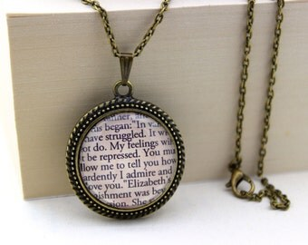 Pride and Prejudice, 'How Ardently I Admire and Love You', Mr. Darcy, Jane Austen Book Quote Necklace.