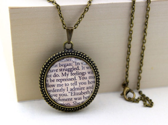 Christmas Stocking Ideas for the Book Lover - Pride and Prejudice, 'How Ardently I Admire and Love You', Mr. Darcy, Jane Austen Book Quote Necklace.