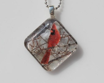 Northern Cardinal Glass Pendant Necklace
