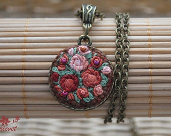 Necklace «Rose bouquet» Handmade necklace Embroidered necklace Embroidered  Pendant Antique bronze Terracotta / Green