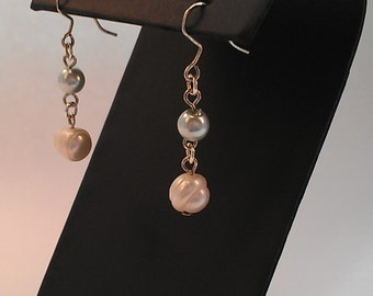 Storm Gray and Pink pearl earrings