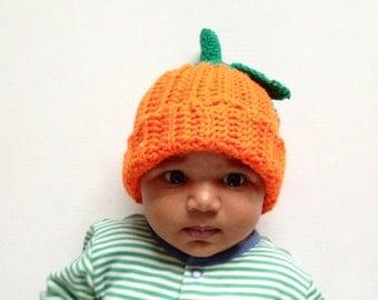 Pumpkin Hat, crochet pumpkin hat, Crochet pumpkin beanie, baby Pumpkin hat, Halloween hat, Halloween costume, photoprop, handmade to order