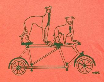 Bike Tee Shirt- Pit Bull Tee Shirt- Greyhound Tee Shirt- Dog Tee Shirt- Children's Gift- Hand Drawn- Size Medium