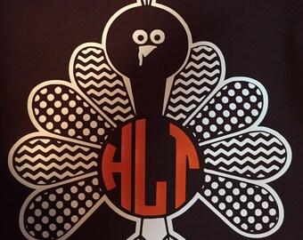 Children's Turkey Monogram Shirt - Children's Turkey Shirt - Turkey Shirt - Thanksgiving Turkey Shirt - Thanksgiving Monogram Shirt