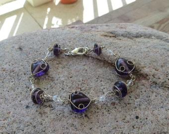 Purple and Silver Heart Bracelet