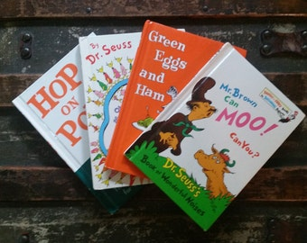 Dr. Seuss books, Hop On Pop, Green Eggs and Ham, Mr. Brown Can Moo Can You?, Oh The Things You Can Think!, vintage Dr. Seuss book set