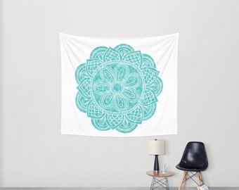 Blue Mandala Wall Tapestry. Boho Home Decor. For Her.
