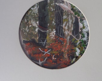 Gouache and Collage Circular painting