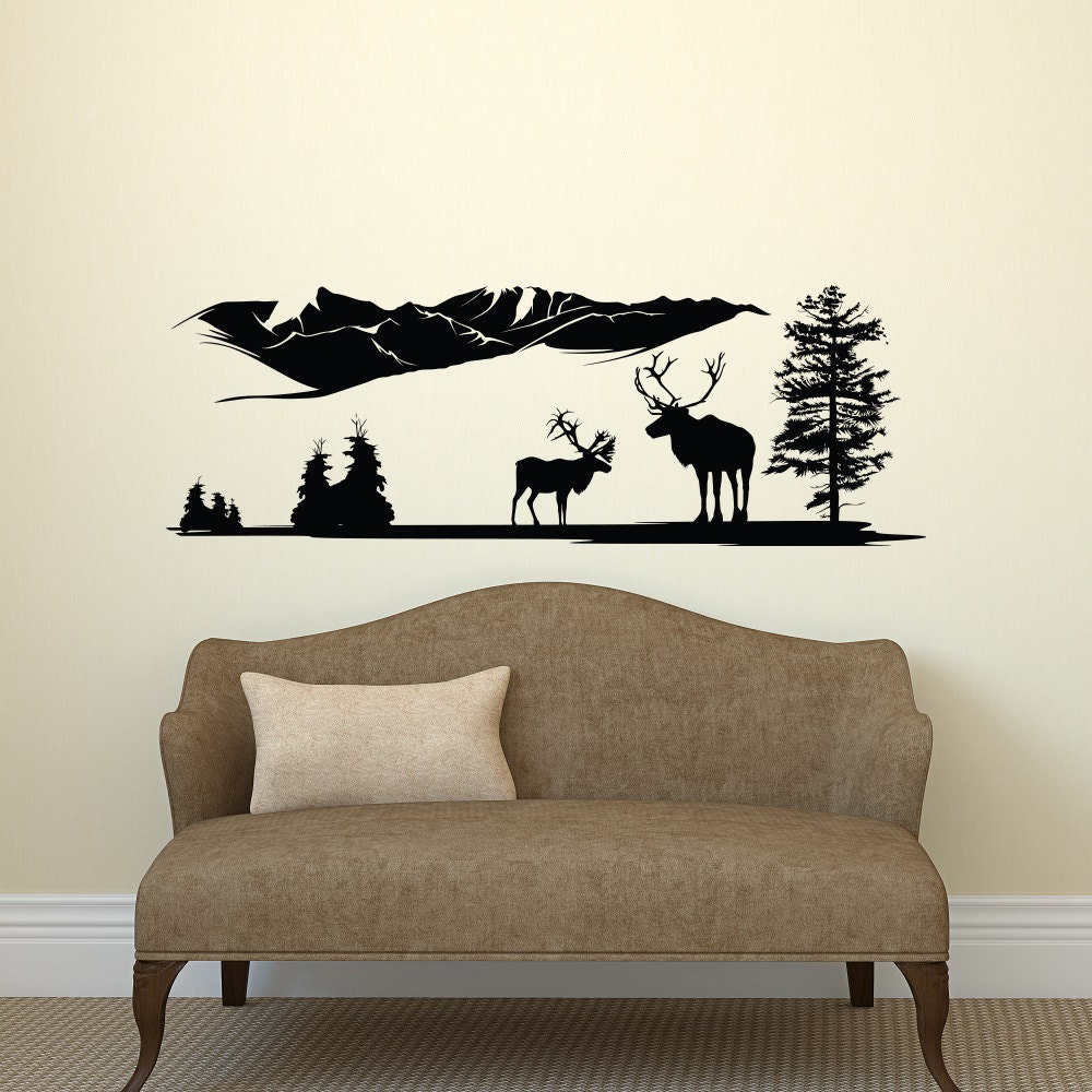 deer wall decal country wall decal forest wall decal by. Black Bedroom Furniture Sets. Home Design Ideas
