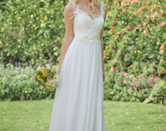 DANIELLE GOWN Romantic, flower child, French lace wedding dress
