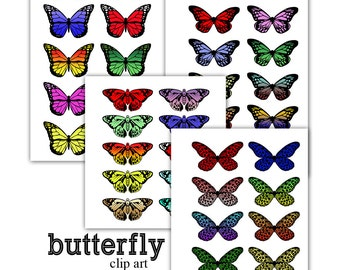 Butterfly Clip Art Template Digital Clipart Colorful 4 species Instant Download moth Scrapbooking Elements Personal and Commercial Use