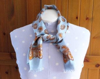 Vintage sky blue satin rayon scarf