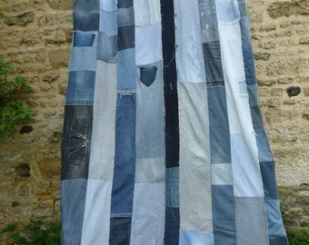 plaid jean patchwork wall hanging