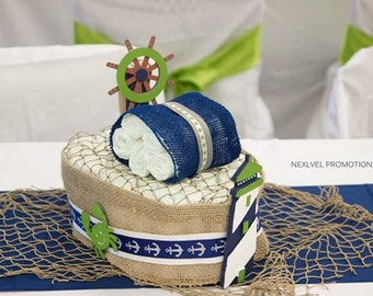 Nautical boat diaper cake