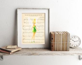 Tinker Bell Sheet Music Art Print