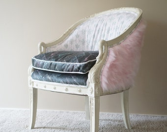 Vintage Barrel-Back Upholstered Pink Fur Swan Chair - SOLD