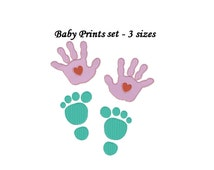Baby hand prints Embroidery design - Foot and Hand prints set 3 sizes instant download