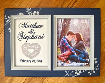 Engagement 5x7 personalized frame Boyfriend girlfriend gift Embroidered script on white linen Anniversary gift