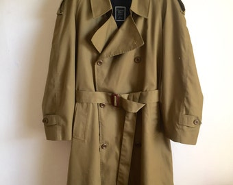 Vintage Christian Dior Monsieur Paris New York Olive Trench Coat w/ Removable Lining