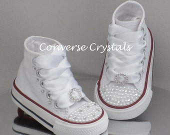 Custom Crystal and Pearl *Bling*  Toes Converse Sizes 2-10. Colour and Ribbon Options Available.