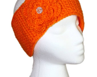 Orange Head Wrap, Pumpkin Orange Flower Head Wrap, Orange Headband, Orange Flower Headband, Orange Headband with Removable Flower