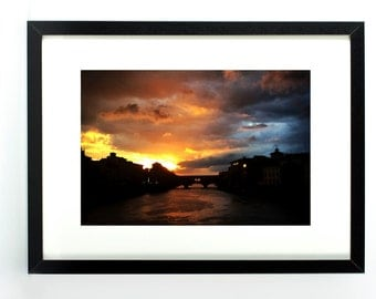 Arno River sunset in Florence, Italy