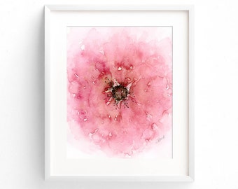 Flower Art Print of Abstract Watercolor Flower Painting, Pale Rose Pink Floral Wall Art Decor