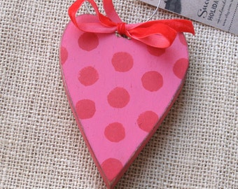 Heart Ornament, Pink Wood Heart with Red Spots, Wooden Valentine Ornament, Pink Heart Ornament, Painted Wood Heart, Painted Valentine