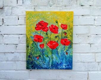 Poppy painting red, Poppy palette knife on canvas, Red poppy painting on canvas, Poppy oil paintings, Red poppy oil paintings