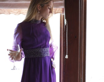 1960s Purple Cocktail Dress