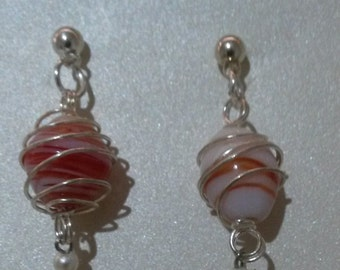 Wired Wrapped Glass Bead Earrings
