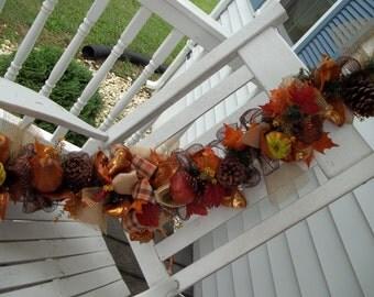 Primitive Fall Thanksgiving Garland 4 1/2 ' Pumpkins, Gourds, Mesh, Bows, Pine Cones, Ribbon,Fall leaves