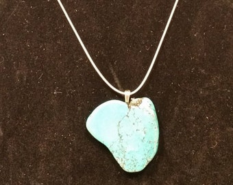 Blue Magnesite Free Form Stone Pendant - Free chain included