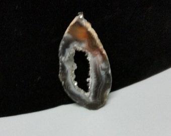Sliced Geode Stone Pendant - Crystalized Center