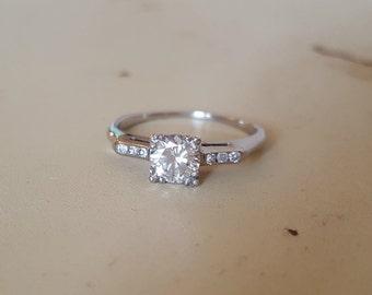 Vintage Antique Art Deco 14K White Gold .65ct Solitaire Diamond Engagement Ring