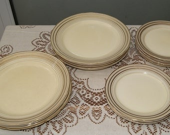 Pountney and Co, Bristol Art Deco Amberone China 9 x Dessert Plates and 10 x Side Plates