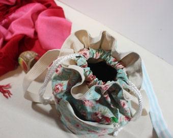 Blue and Pink Rose Spring Drawstring Cross body Bag/ Blue and Pink Rose Floral Fabric Drawstring Cross body Bag