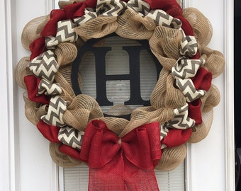 Burlap Wreath with initial