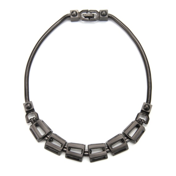 Rectangle Chain Link and Snake Chain Choker