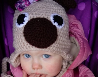 crochet pug hat, crochet dog hat, winter hat, crochet character hat, baby photography prop, children's hat, earflap hat, hat with bow